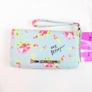Betsey Johnson Blue Floral Wristlet Wallet